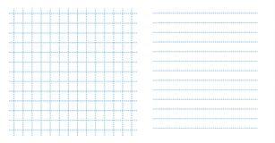 Ustalonej kwadratowej siatka notatnika prześcieradła papieru małej sztuki błękitny kolor w kropkowanej linii i horyzontalnych lin ilustracji