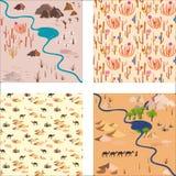 Ustalony bezszwowy pustynia wzór z rzeką, palmami i skałami, ilustracji