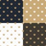 Ustalony bezszwowy wzór na w retro stylu z białą i złocistą koroną błękitnym, złocistym, białym i brown tle, Obraz Stock