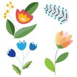 Ustalony doodle rysujący kwiaty odizolowywający na białym tle dla projekta Zdjęcia Stock