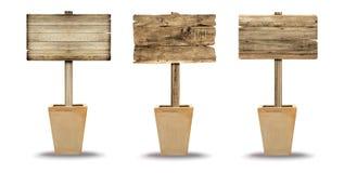 Ustalony drewniany znak odizolowywający na bielu Drewniany stary deska znak Obrazy Royalty Free