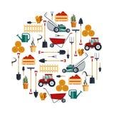 Ustalony gospodarstwo rolne wytłacza wzory wektor ilustrację Ogrodowa instrument ikony kolekcja, łopata, pitchfork, świntuch, law Zdjęcie Stock