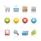 ustalony ikona zakupy Zdjęcia Stock