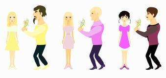Ustalony para mężczyzna daje kwiaty i dziewczyna kolorowi żółtemu Wektorowy Illustratio Zdjęcia Stock