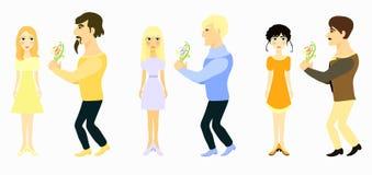 Ustalony para mężczyzna daje kwiaty i dziewczyny również zwrócić corel ilustracji wektora Obraz Royalty Free