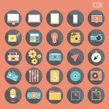 25 ustalony Podstawowy Płaski projekt, ogólnospołeczni środki i zastosowanie, smartphone, sieci i wiszącej ozdoby, Inny abstrakt ilustracji