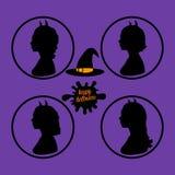 Ustalony Szczęśliwy Halloween znak Żeńska sylwetka czarownica boczny widok Wektorowa ilustracja na purpurowym tle ilustracja wektor