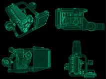 Ustalony turbocharged czterocylindrowy, wydajny silnik dla sporta samochodu, Zielona neonowa jarzeniowa ilustracja na czarnym tle royalty ilustracja