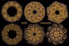 Ustalony Złoty Kółkowy ornamentu rysunek ręką, ikonowy logo M Zdjęcie Royalty Free