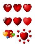 ustaw walentynki ikony serca Obrazy Royalty Free