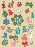 ustawić symbole świąteczne Mieszkanie styl z cieniami wektor royalty ilustracja