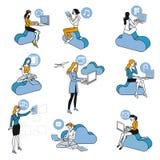 ustawiać błękit dziewczyny obłoczne target3330_0_ Zdjęcia Stock