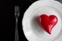 Ustawiać dla valentine& x27; s dnia romantyczny gość restauracji Odgórny widok Przestrzeń dla Zdjęcie Stock