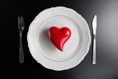 Ustawiać dla valentine& x27; s dnia romantyczny gość restauracji Odgórny widok Przestrzeń dla Obrazy Stock