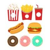 ustawiać fast food ikony Hamburger, popkorn, kreskówka set, francuski dłoniaków, sody, pączka i hot dog, ilustracja wektor
