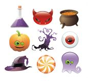 ustawiać Halloween ikony Zdjęcie Stock