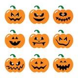 Ustawiać halloweenowe dyniowe ikony Obrazy Stock