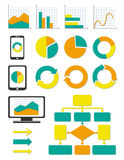 Ustawiać map i info wykresu biznesowe ikony Fotografia Stock