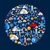 ustawiać okrąg ikony kształtują pogodę Obrazy Stock