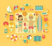 ustawiać plażowe ikony Zdjęcia Stock