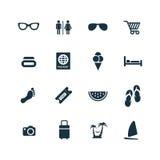 ustawiać plażowe ikony Obrazy Royalty Free