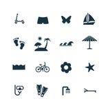 ustawiać plażowe ikony Zdjęcia Royalty Free
