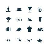 ustawiać plażowe ikony Fotografia Stock
