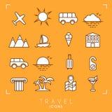 ustawiać podróży wakacje plażowe ikony royalty ilustracja