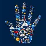 ustawiać ręk ikony kształtują pogodę ilustracja wektor