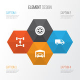 ustawiać samochodowe ikony Kolekcja ciężarówka, Wheelbase, koło I Inni elementy, Także Zawiera symbole Tak jak samochód, Naprawia Obrazy Royalty Free