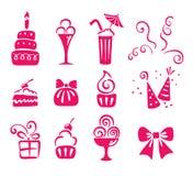 ustawiać urodzinowe ikony Obrazy Stock