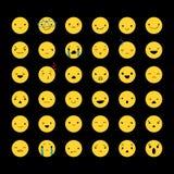 Ustawia Żółtych Emoticons 2 Obrazy Royalty Free