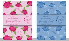 Ustawia ślubną kartę z różami Dekoracyjny menchii i błękita zaproszenie royalty ilustracja
