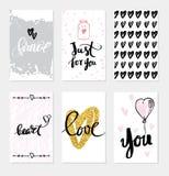 Ustawia ślubnych kart kaligrafię dla projekta royalty ilustracja