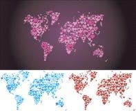 Ustawia światową mapę od serca Obrazy Royalty Free