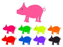 Ustawia świnie różni kolorów piggys Obrazy Stock