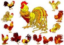 Ustawia żółtych czerwonych koguty na bielu Fotografia Stock