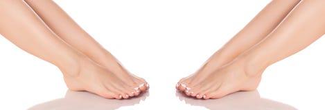 Ustawia żeńską cieki nóg piętę stopa od różnych kierunek medycyny piękna zdrowie Fotografia Royalty Free