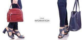 Ustawia żeńskie nogi w cajgach w błękitnych sandałów butach z rzemiennej torby torebki mody piękna sklepu zakupu wzorem i czerwon Obraz Royalty Free