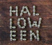 Ustawia abecadło listy od metal czaszek - Halloween Fotografia Stock