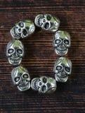 Ustawia abecadło listy od metal czaszek - Halloween Obrazy Stock