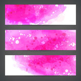 Ustawia abstrakcjonistycznych akwareli ręki farby sztandary Fotografia Stock