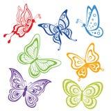 Ustawia abstrakcjonistycznych motyle Obrazy Royalty Free