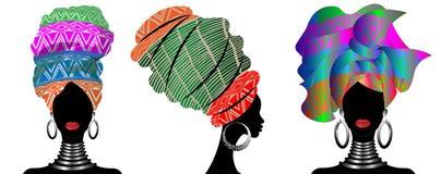 Ustawia Afrykańskiego szalika, portreta Afro kobiety w pasiastym turbanie Plemienna opakunek moda, Ankara, Kente, kitenge, Afryka royalty ilustracja