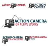 Ustawia akci kamery loga Kamera dla aktywnych sportów Ultra HD 4K Zdjęcie Stock