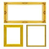 Ustawia antykwarską złoto ramę odizolowywającą na bielu Zdjęcie Royalty Free