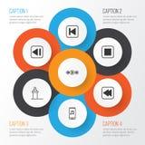 ustawiać audio ikony Kolekcja muzyki kontrola Obraz Stock