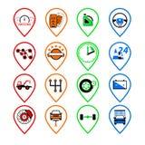 Ustawia auto logo, odznaka, emblemat lub logotyp dla mechanika, samochód ponowny Zdjęcie Stock