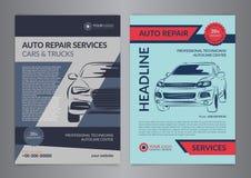 Ustawia auto naprawy układu biznesowych szablony, samochód okładka magazynu, auto remontowego sklepu broszurka, mockup ulotka Zdjęcie Royalty Free