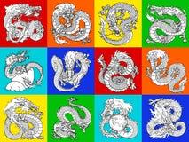 Ustawia Azjatyckiego smoka kontur na multicolor Zdjęcie Royalty Free